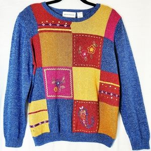Alfred Dunner Grandma Style Patchwork Sweater Y2K